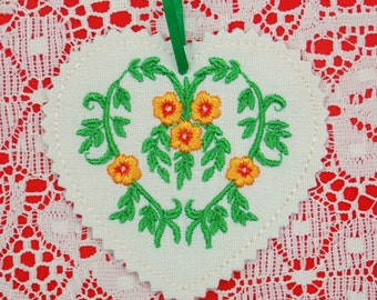 Christmas~Holiday~Valentine Floral Heart Ornament Machine Embroidered on Linen in Tangerine, Gold & Green
