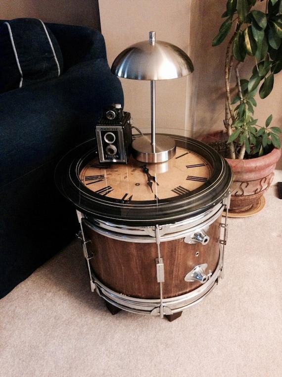 Drum And Clock Side Table Using Repurposed Mahogany Bass Drum