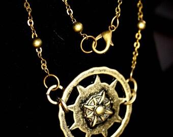 Antique Brass Compass Pendant Necklace
