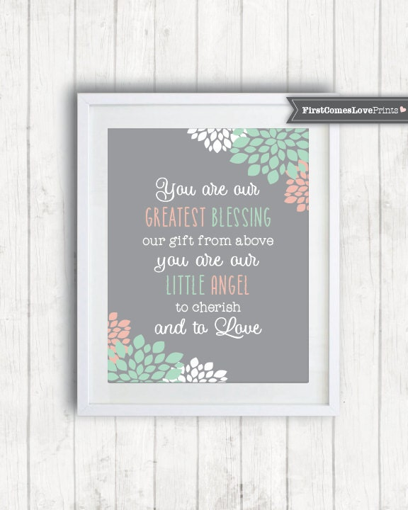 Coral And Mint Dahlia Flowers Girl Bedroom Decor Quote For