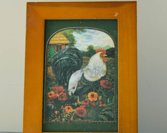 rooster rustic picture frame wood frame vintage rooster rustic frame