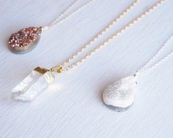 Gold filled long quartz pendant necklace