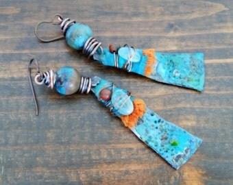 Bisbee earrings - Bohemian, Dangle, Artisan, Turquoise, Southwest, OOAK, Western