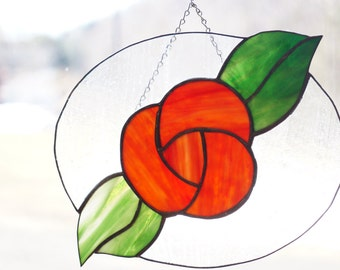 Victorian Rose Stained Glass Window Panel