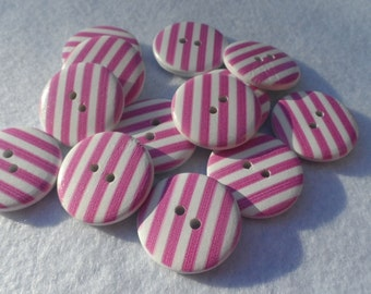 10 Round Wooden buttons with Striped White and Amaranth 24,5mm