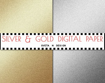 Glitter Digital Paper Silver and Gold Glitter Gradient Background {Texture, Overlay} - Instant Download