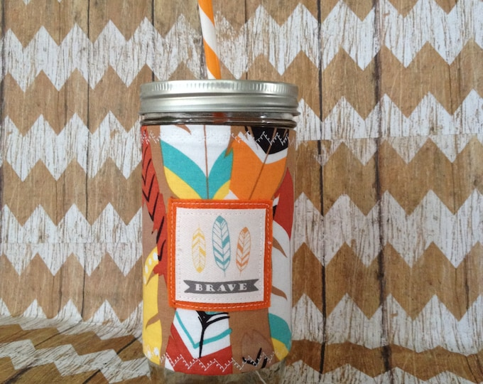 Brave Feathers Mason Jar Tumbler 24oz  BPA Free Straw Travel Mug Insulated Sleeve Cozy