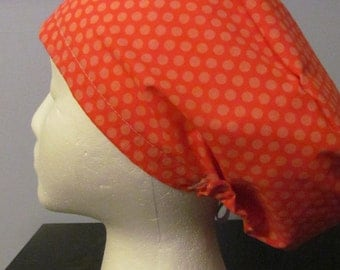 Coral and Polka Dots Euro Style Surgical Scrub Hat