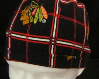Chicago Blackhawks NHL Hockey Flannel Tie Back Surgical Scrub Hat