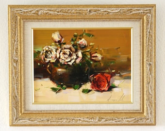 Vase of Roses Original oil Painting Framed Ready to Hang Signed Handmade painting  One of a Kind