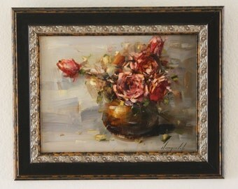 Vase of Roses Original oil Painting Flowers Framed Ready to Hang Signed Handmade painting  One of a Kind