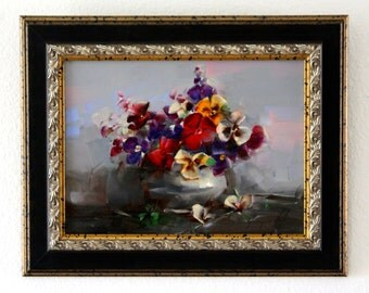 Vase of Pansies Original oil Painting Flowers Framed Ready to Hang Signed Handmade painting  One of a Kind