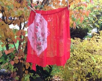 Vintage Red Organdy Half Apron With Floral Handkerchief Pocket