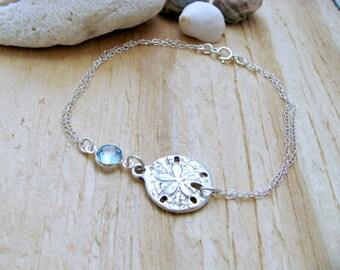 Sand dollar Bracelet birthstone anklet swarovski Birthstone Bracelet Personalized aquamarine jewelry Beach Wedding Summer march birthstone