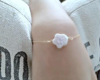 Freshwater Pearl Bracelet Pearl Jewelry Girls Jewelry Shell Bracelet JBM Jewelry Pearl Jewelry Flower Girls Bracelets Beach Wedding Bracelet