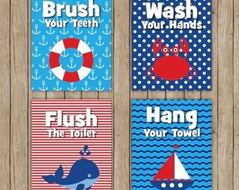 Set of 4 nautical bathroom prints 8x10