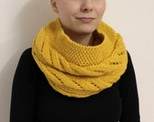 Mustard Wool Snood Scarf, Wool Infinity Scarf, Yellow Gold Cowl, Knit Neck Warmer, Cable Knit Cowl, Gold Winter Scarf, Circle Scarf Snood