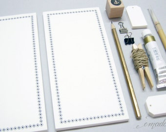 Notepads, memo pad, stationery, pads, bloc, to do list, list, writing pad, office supplies - Vintage border, DIN Lang