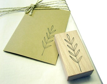 Rubberstamp - Branch with long leaves