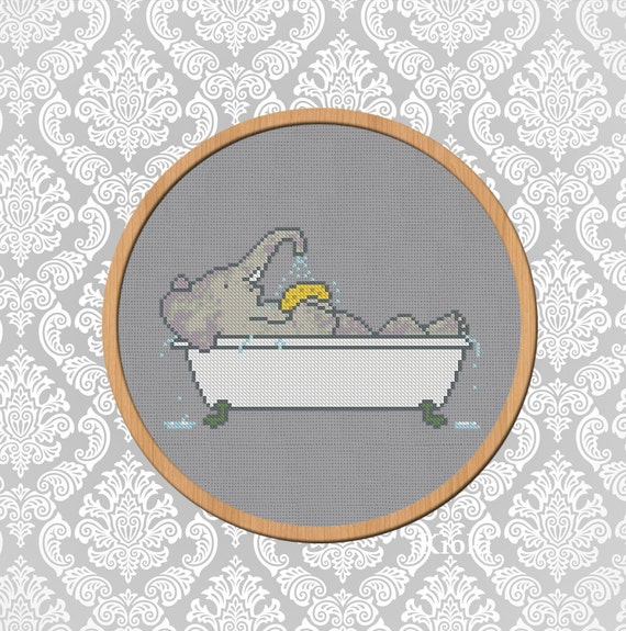 Cross stitch pattern babar39s bath pdf instant by tinyneedle for Bathroom cross stitch patterns free