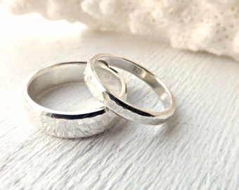 silver wedding bands rustic wedding rings silver matching ring set his and hers - Silver Wedding Rings