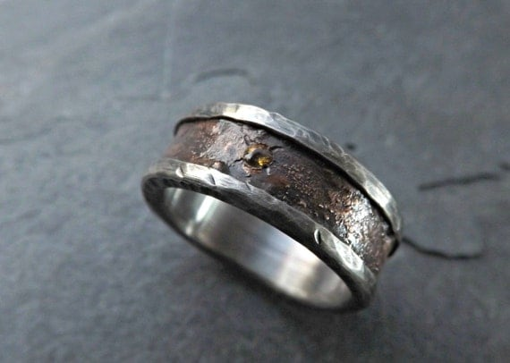 Bronze Wedding Band Silver Rustic Mens Wedding Ring