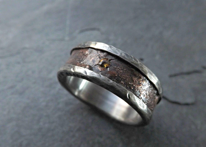 bronze wedding band silver rustic mens rustic wedding bands zoom