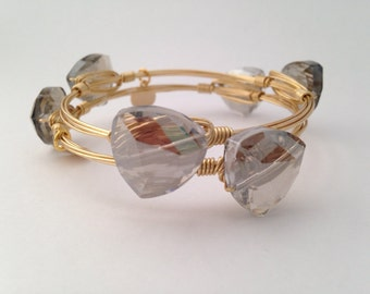 Gray Crystal Wire Wrapped Gold Bangle