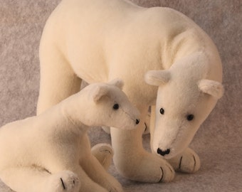 Teddy Bear pattern and Illustrated Instructions for Mother and Cub Polar Bear (downloadable PDF)