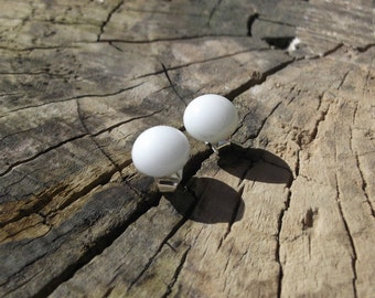White Fused Glass Surgical Steel Stud Earrings