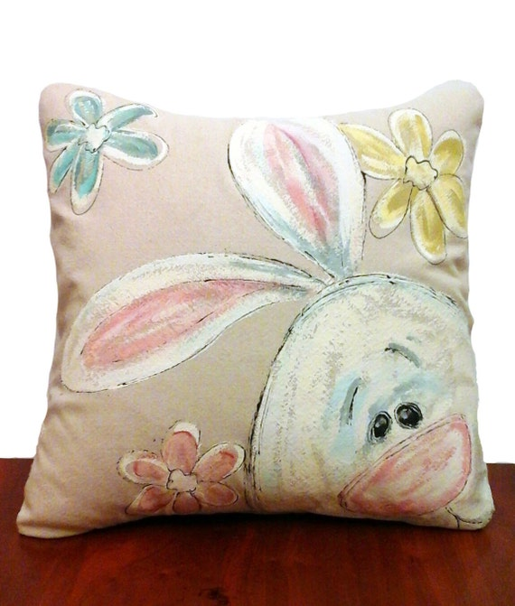 Easter Throw Pillow Covers : Pillow Cover Easter Bunny Easter Eggs Spring Patio Porch