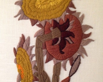 Large Sunflowers Embroidery Wall Hanging