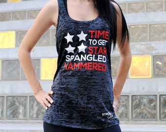 Women's 'Star-Spangled-Hammered' American Flag Tank Top. Racer Back. Shirt 4th of July Party TIme. Lets Drink Tank Top. Summer Tank Top.