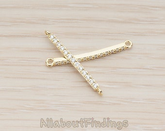 CNT050-01-G // Glossy Gold Plated Small Clear Crystal Cubic Zirconia Setting CZ Bar Connector, 1Pc
