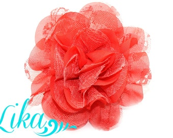 Coral Lace Flowers - Chiffon Flower - Lace rose - Shredded Lace Flower - Wholesale - Supply - DIY- 3.75 inch