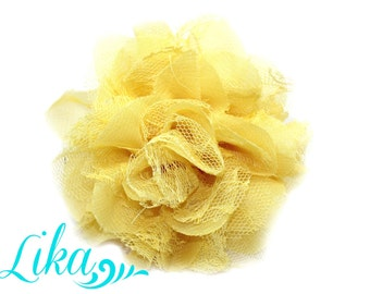 Bright Yellow Lace Flower - Chiffon Flower - Lace rose - Shredded Lace Flower - Wholesale - Supply - DIY- 3.75 inch