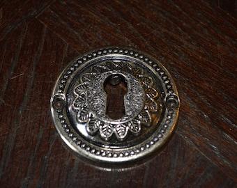 Vintage French Chrome Round Keyhole Escutcheon