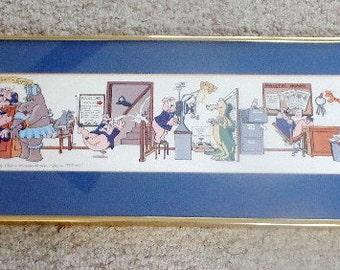 POLICE Station~  Whimsical, framed art print.  It is signed.  Sale: 33% off!
