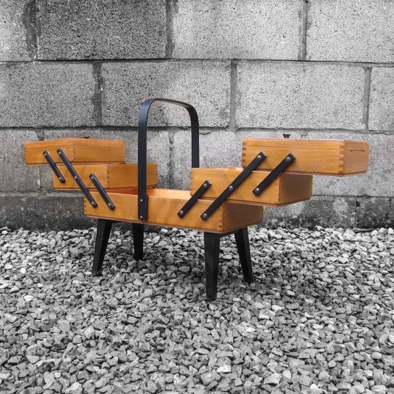 Vintage Mid Century Modernist 1950s 1960s 1970s Old Original Cantilever Sewing Box Storage Display