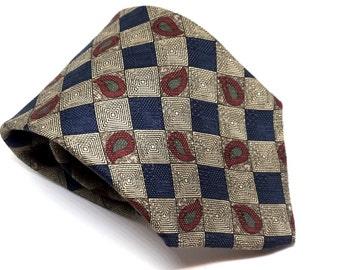 Vintage Italian Silk Tie, BUGATTI Designer Necktie, Mens Accessories, Made in USA