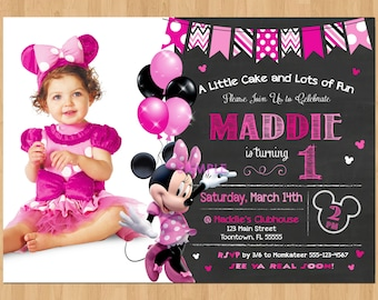 Minnie Mouse Birthday Invitation Minnie Mouse Invitation 1st