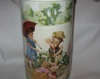 "Massily France Canister Tin with Lid 8"" x 4.5"""