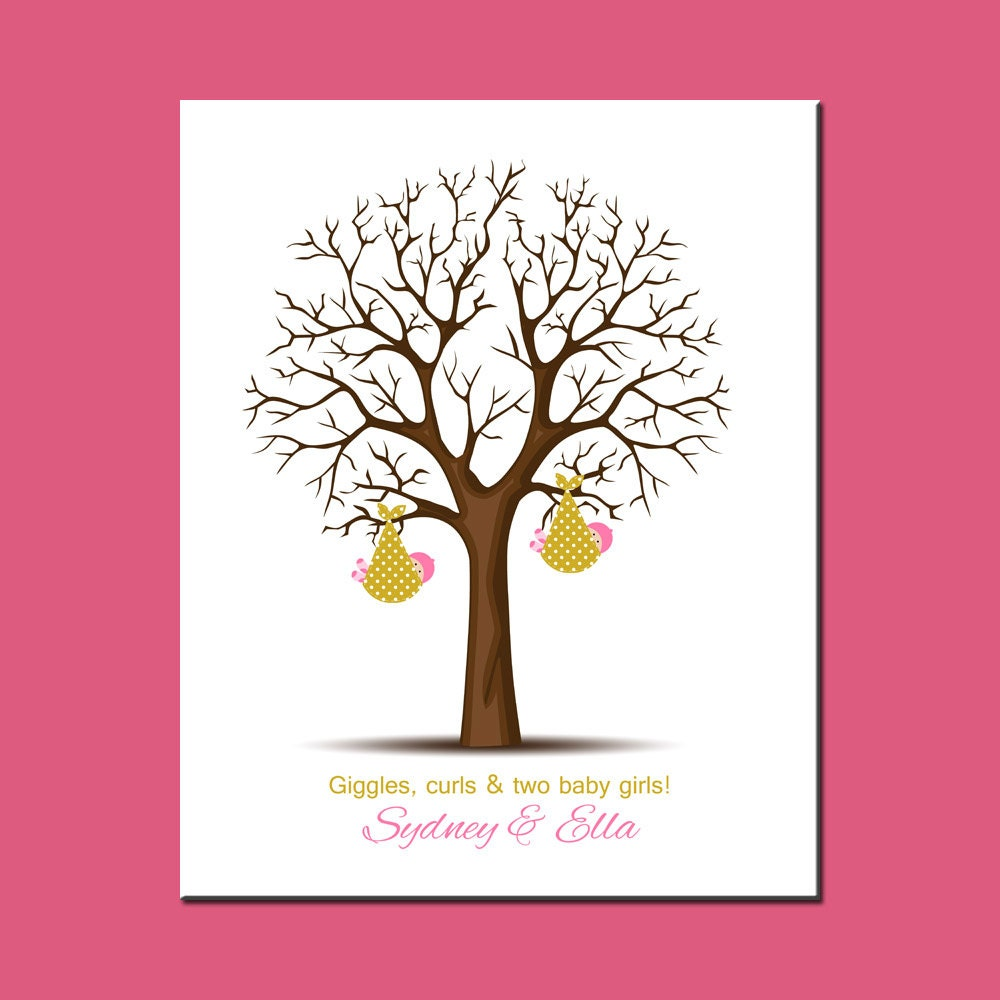 Twins baby shower decorations twins baby shower thumbprint for Baby shower decoration twins