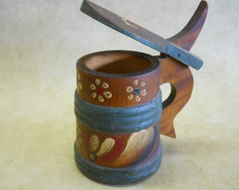 Vintage Swedish Folk Art Wooden Mug