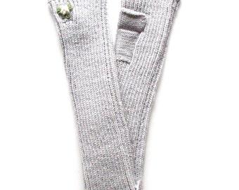 Lambswool long fingerless mittens/pulse warmers/arm warmers/fingerless gloves/gray/black/red