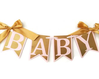 Pink and Gold Baby Shower Banner, Princess Baby Shower Banner