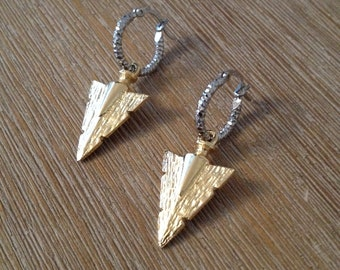 14k gold plated triangle arrow dagger geometric earrings with silver finishing hoops