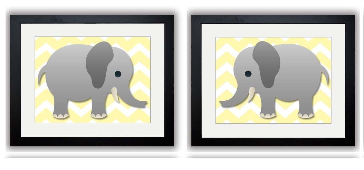 Pale Yellow Grey Chevron Gray Elephant Nursery Art Nursery Print Set of 2 Elephants Child Art Prints