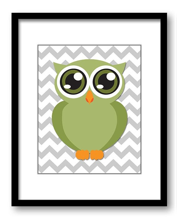Owl Nursery Art Nursery Print Baby Art Grey Chevron Baby Animal Owl Sage Olive Green Print Boys Wall