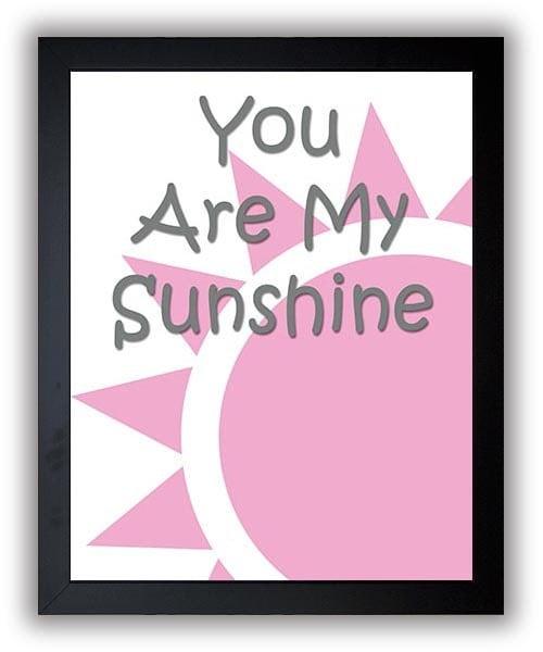 You Are My Sunshine Nursery Art Nursery Print Baby Art Sun Baby Pink Grey Gray Decor Child Baby Art